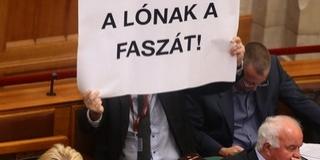 Hadházy Ákos trágár szöveget mutatott fel a Parlamentben