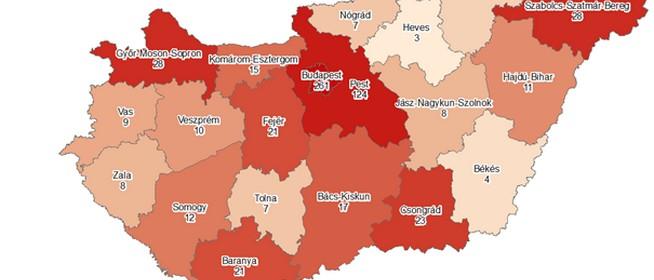 Meghalt öt beteg, 623-ra nőtt a fertőzöttek száma, Baranyában két újabb beteg van